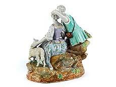 Detailabbildung: Meissener Porzellanfigurengruppe