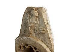 Detailabbildung: Fragment eines Weihwasserbeckens