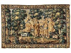 Detailabbildung: Große Bildtapisserie mit mythologischer Darstellung