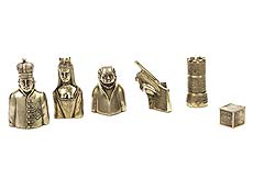 Detail images: Londoner Silber-Schachspiel