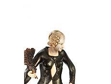 Detailabbildung: Art déco-Skulptur Frau mit Fächer , signiert Giorgio Gori