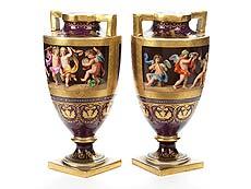 Detailabbildung: Paar Wiener Vasen Allegorie der Vier Jahreszeiten