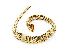 Detail images: Gold-Brillantcollier Vannerie von Tiffany
