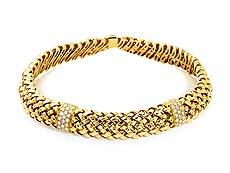 Detailabbildung: Gold-Brillantcollier Vannerie von Tiffany