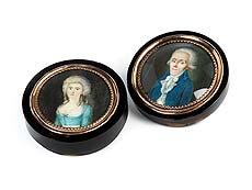 Detail images: Klassizistische Schildpattdose mit Doppelportrait