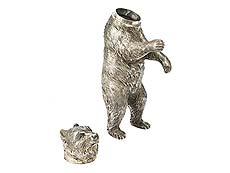 Detail images: Silbernes Trinkspiel in Form eines Bären