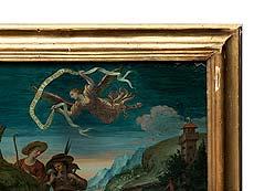 Detail images: Großes museales italienisches Hinterglasbild des 18. Jahrhunders.
