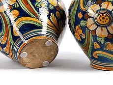 Detail images: Paar große Majolika-Albarelli