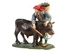 Detail images: Neapolitanische Krippenfigur Bauer mit Rind