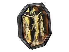 Detail images: Museales Andachtskästchen mit Kreuzgruppe in Elfenbein