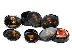 Detail images: Sammlung von sechs Rundlackdosen in der Art von Stobwasser