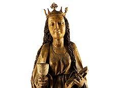 Detail images: Spätgotische Schnitzfigur der Heiligen Barbara