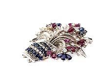 Detailabbildung: Rubin-Saphir-Diamantbrosche