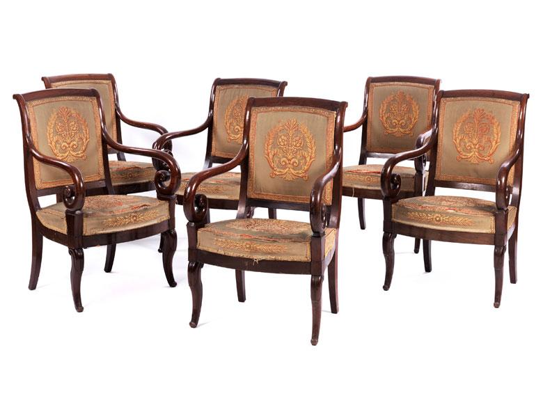 Satz von sechs Charles X-Stühlen