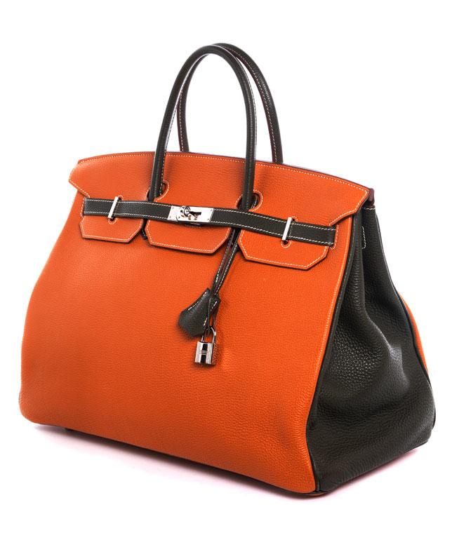 "Hermès Birkin Bag 40 cm Special Order Horseshoe ""Orange Potiron & Vert Olive"""
