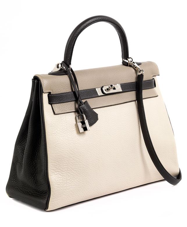 "† Hermès Kelly Bag 35 cm Special Order ""Gris Tourterelle, Graphite & Craie"""