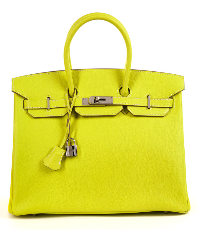 "6eb7ab8b1e68 Hermès Birkin Bag 35 cm Limited Edition Candy Collection ""Lime   Gris Perle"""