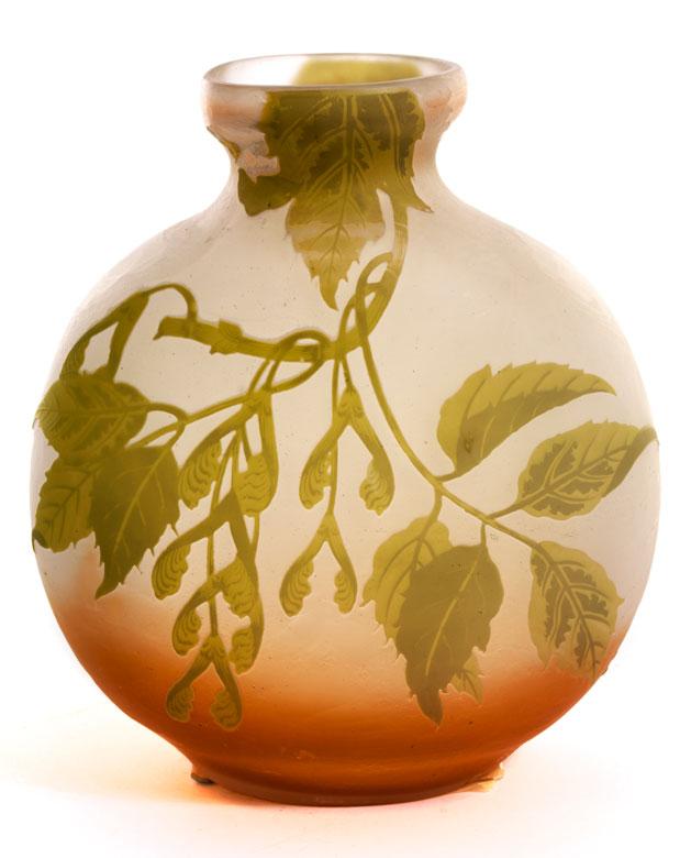 Vase von Émile Gallé mit Ahorndekor