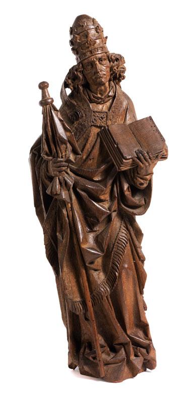 Schnitzfigur eines Heiligen mit Papsttiara