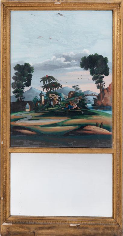 Trumeau-Spiegel mit Hinterglasbild