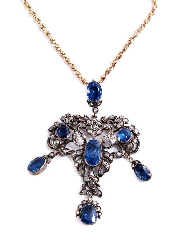Antiker Saphir-Diamantanhänger