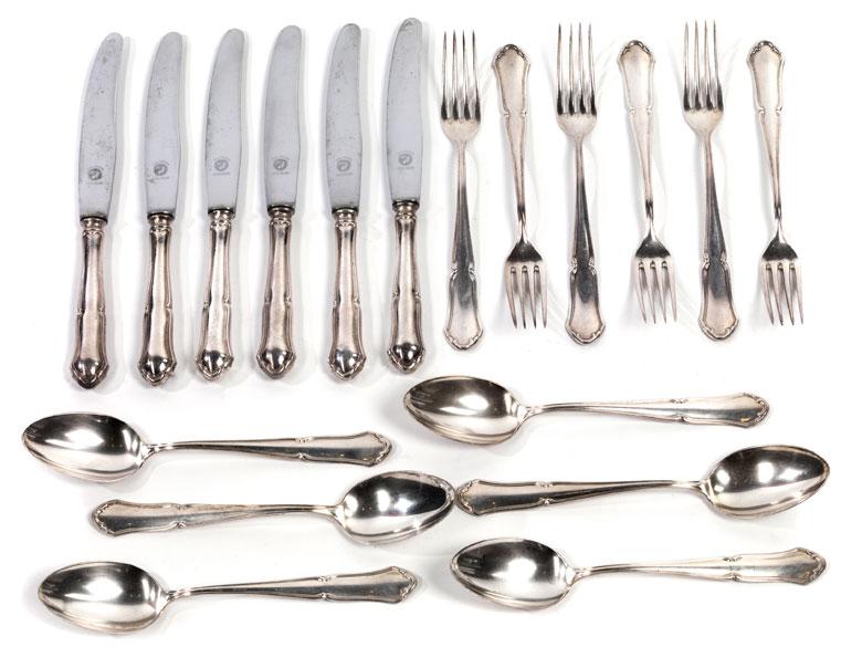 Silberbesteck für sechs Personen