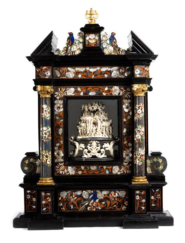 Bedeutender, musealer Altarschrein mit Schnitzgruppe von Leonard van der Vinne, tätig in Florenz im Kreis der Werkstatt von Granducali, zwischen 1659 und 1713