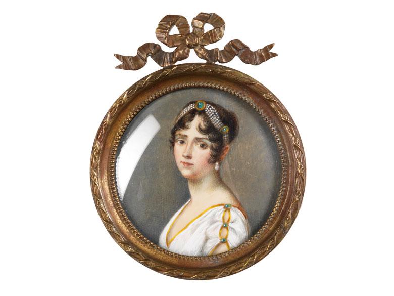Miniaturbildnis einer antikisch gekleideten Dame