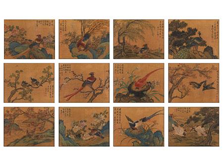 Satz von insgesamt zwölf gleichformatigen Pinselmalereien