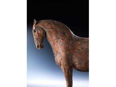 Tonfigur eines Pferdes der frühen Tang-Dynastie