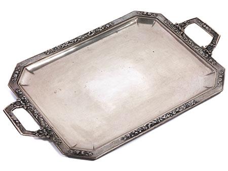 Großes silbernes Art Déco Tablett