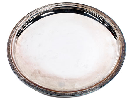 Rundes Silbertablett