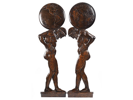 Paar Bronze-Flachreliefs