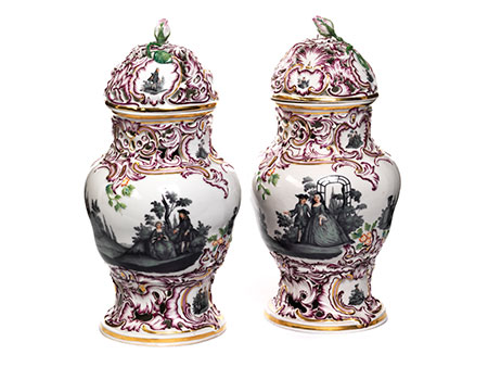 Paar Fürstenberger Potpourri-Vasen