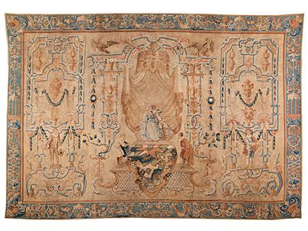 Bedeutender und äußerst seltener Wandteppich mit Grotesken-Dekoration und Figuren der Commedia dell'arte, Jean Peux, zug.
