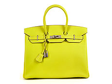 "† Hermès Birkin Bag 35 cm Limited Edition Candy Collection ""Lime & Gris Perle"""