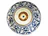 Detail images: Blauweiße Porzellanplatte mit Resten von Goldhöhung