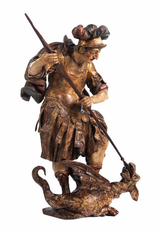 Schnitzfigur des Heiligen Georg