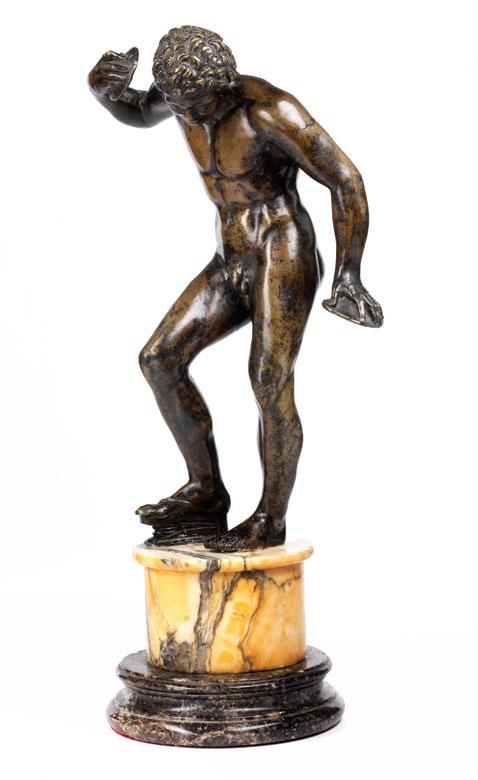 Bronzestatuette eines tanzenden Fauns, Werkstatt Soldani-Benzi