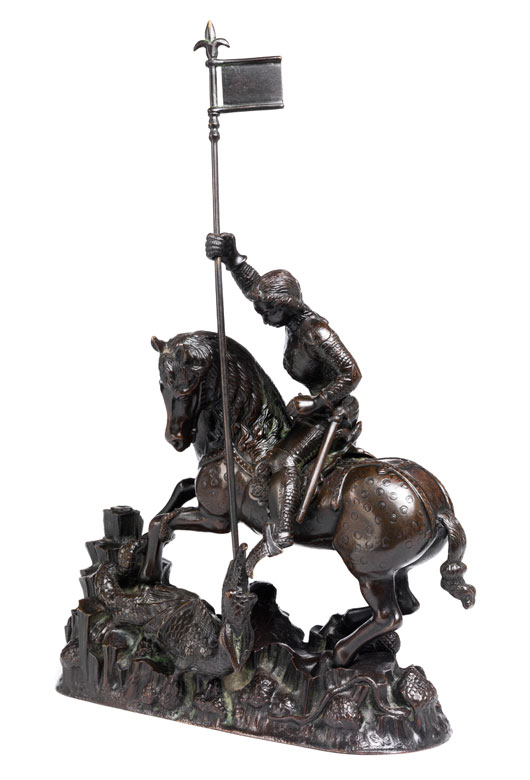 Bronze-Figurengruppe des Heiligen Georg, der den Drachen besiegt