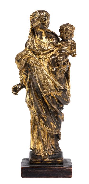 Vergoldete Bronzestatuette einer Maria mit dem Kind