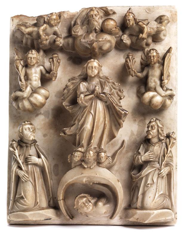 Alabaster-Schnitzwerk mit Darstellung der Mondsichelmadonna