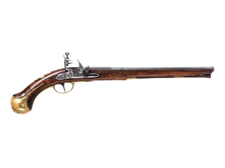 Äußerst seltene, monegassische Reiter-Steinschlosspistole