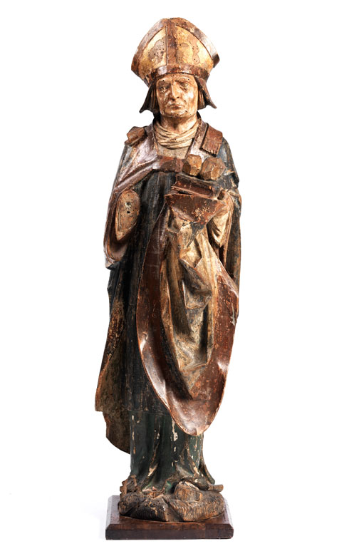 Spätgotische Schnitzfigur des Heiligen Nikolaus