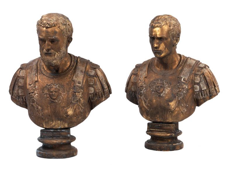 Paar Bronzebüsten römischer Imperatoren