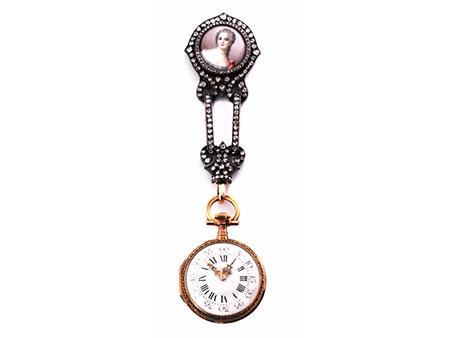 Dekorative offene Damentaschenuhr mit Bildnis einer Dame