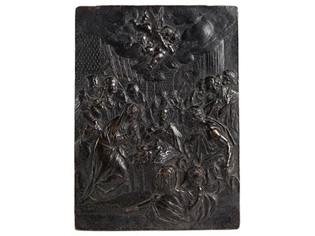 Bronzerelieftafel mit Darstellung der Anbetung der Hirten
