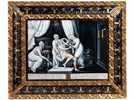 Limoges-Email Bildtafel mit Darstellung der Toilette der Venus
