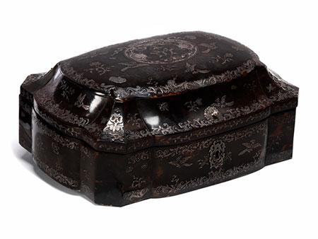 Neapolitanische Silber-Piqué Schildpattdose