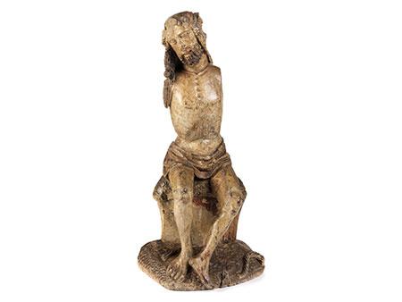 """Gotische Schnitzfigur """"Christus in der Rast"""""""